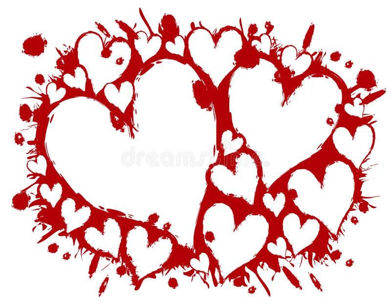 Αιματηρή ανασκόπηση Splatter καρδιών διάτρητων στοκ εικόνες