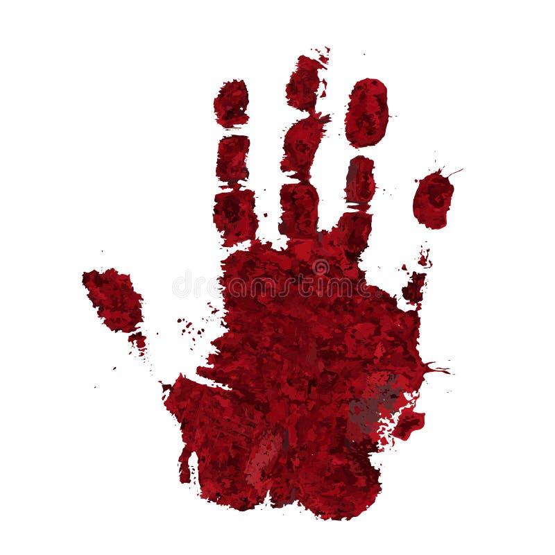 Αιματηρή τυπωμένη ύλη χεριών που απομονώνεται στο άσπρο υπόβαθρο Τρομακτικό blo φρίκης διανυσματική απεικόνιση