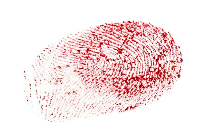 Αιματηρό δακτυλικό αποτύπωμα που απομονώνεται σε ένα άσπρο υπόβαθρο απεικόνιση αποθεμάτων