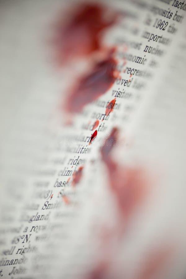 Αιματηρό κείμενο βιβλίων στοκ φωτογραφίες