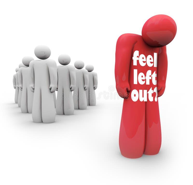 Αισθανθείτε την αριστερή έξω λυπημένη καταθλιπτική μην ομάδα προσώπων απεικόνιση αποθεμάτων