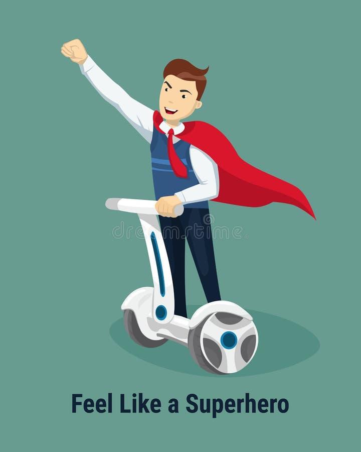Αισθανθείτε όπως μια έννοια Superhero Όμορφος ευτυχής επιχειρηματίας σε ένα superhero κοστουμιών που οδηγά σε segway επίσης corel διανυσματική απεικόνιση