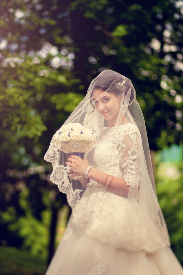 Αισθησιακή όμορφη νύφη brunette που χαμογελά και που κρύβει slyly κάτω από το πέπλο της υπαίθρια στοκ φωτογραφία