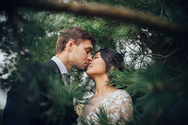 Αισθησιακό παντρεμένο ζευγάρι, βαλεντίνοι που αγκαλιάζει μπροστά από το παλαιό slavi στοκ εικόνα