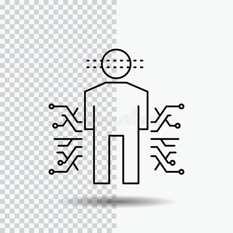 Αισθητήρας, σώμα, στοιχεία, άνθρωπος, εικονίδιο γραμμών επιστήμης στο διαφανές υπόβαθρο Μαύρη διανυσματική απεικόνιση εικονιδίων απεικόνιση αποθεμάτων