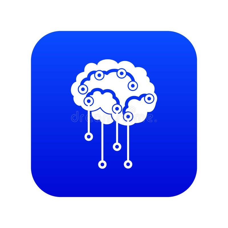 Αισθητήρες στο ανθρώπινο ψηφιακό μπλε εικονιδίων εγκεφάλου ελεύθερη απεικόνιση δικαιώματος