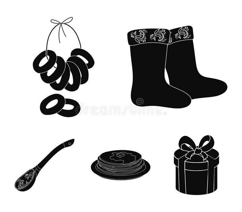 Αισθητός, μπότες, ξήρανση, μελόψωμο Καθορισμένα εικονίδια συλλογής χωρών της Ρωσίας στη μαύρη απεικόνιση αποθεμάτων συμβόλων ύφου ελεύθερη απεικόνιση δικαιώματος