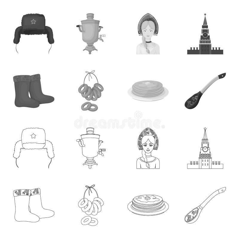 Αισθητός, μπότες, ξήρανση, μελόψωμο Καθορισμένα εικονίδια συλλογής χωρών της Ρωσίας στην περίληψη, μονοχρωματικό απόθεμα συμβόλων ελεύθερη απεικόνιση δικαιώματος