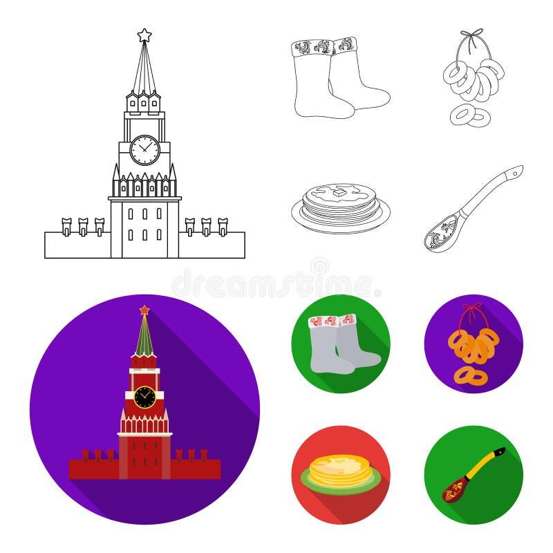 Αισθητός, μπότες, ξήρανση, μελόψωμο Καθορισμένα εικονίδια συλλογής χωρών της Ρωσίας στην περίληψη, επίπεδο απόθεμα συμβόλων ύφους διανυσματική απεικόνιση