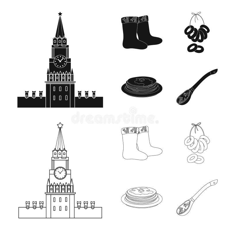 Αισθητός, μπότες, ξήρανση, μελόψωμο Καθορισμένα εικονίδια συλλογής χωρών της Ρωσίας στο Μαύρο, διανυσματικό απόθεμα συμβόλων ύφου απεικόνιση αποθεμάτων