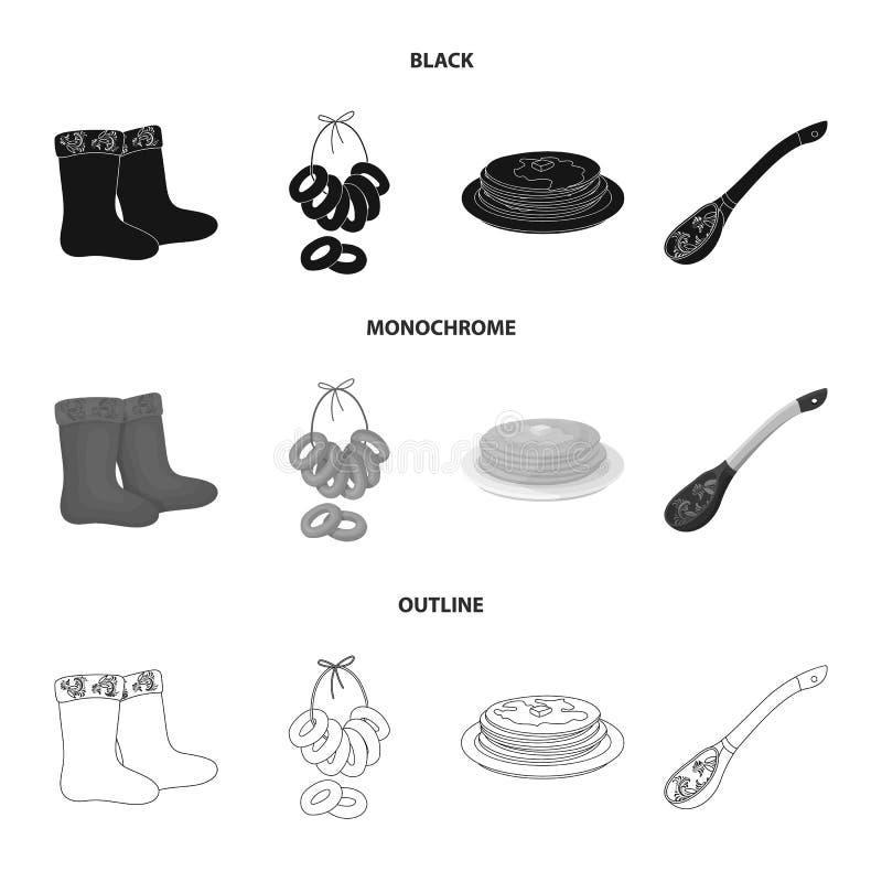 Αισθητός, μπότες, ξήρανση, μελόψωμο Καθορισμένα εικονίδια συλλογής χωρών της Ρωσίας στο μαύρο, μονοχρωματικό, διανυσματικό σύμβολ διανυσματική απεικόνιση