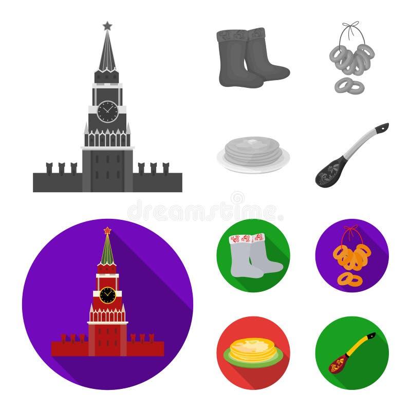 Αισθητός, μπότες, ξήρανση, μελόψωμο Καθορισμένα εικονίδια συλλογής χωρών της Ρωσίας στο μονοχρωματικό, επίπεδο απόθεμα συμβόλων ύ ελεύθερη απεικόνιση δικαιώματος
