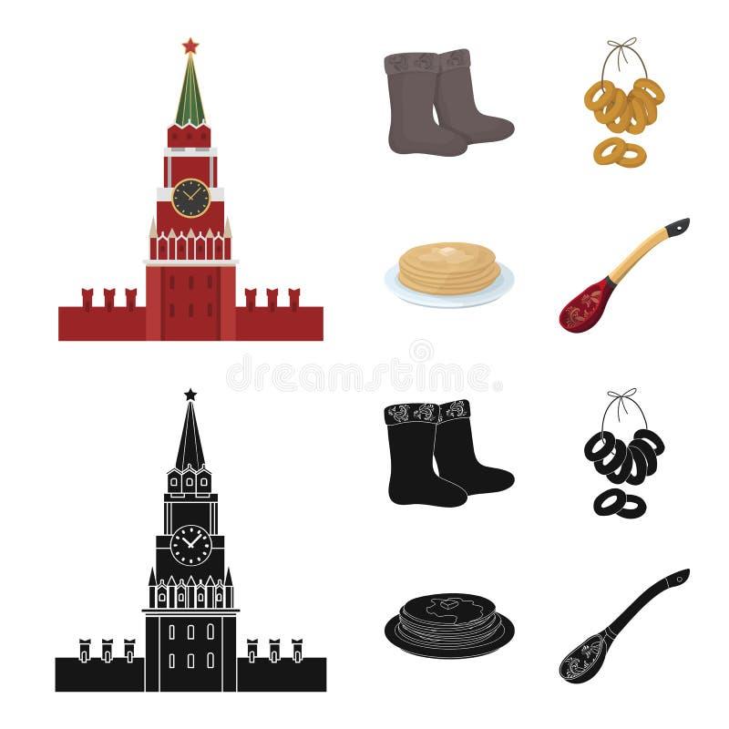 Αισθητός, μπότες, ξήρανση, μελόψωμο Καθορισμένα εικονίδια συλλογής χωρών της Ρωσίας στα κινούμενα σχέδια, μαύρο απόθεμα συμβόλων  ελεύθερη απεικόνιση δικαιώματος