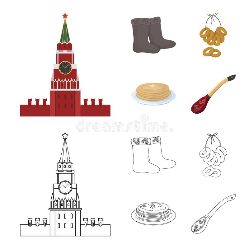 Αισθητός, μπότες, ξήρανση, μελόψωμο Καθορισμένα εικονίδια συλλογής χωρών της Ρωσίας στα κινούμενα σχέδια, διανυσματικό απόθεμα συ διανυσματική απεικόνιση