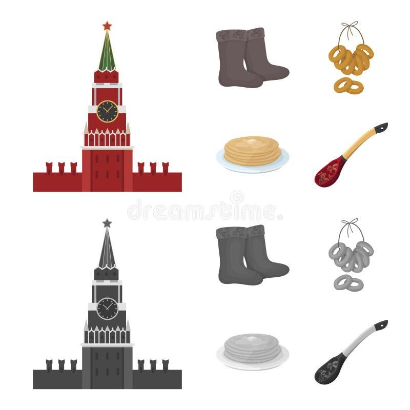 Αισθητός, μπότες, ξήρανση, μελόψωμο Καθορισμένα εικονίδια συλλογής χωρών της Ρωσίας στα κινούμενα σχέδια, μονοχρωματικό απόθεμα σ διανυσματική απεικόνιση