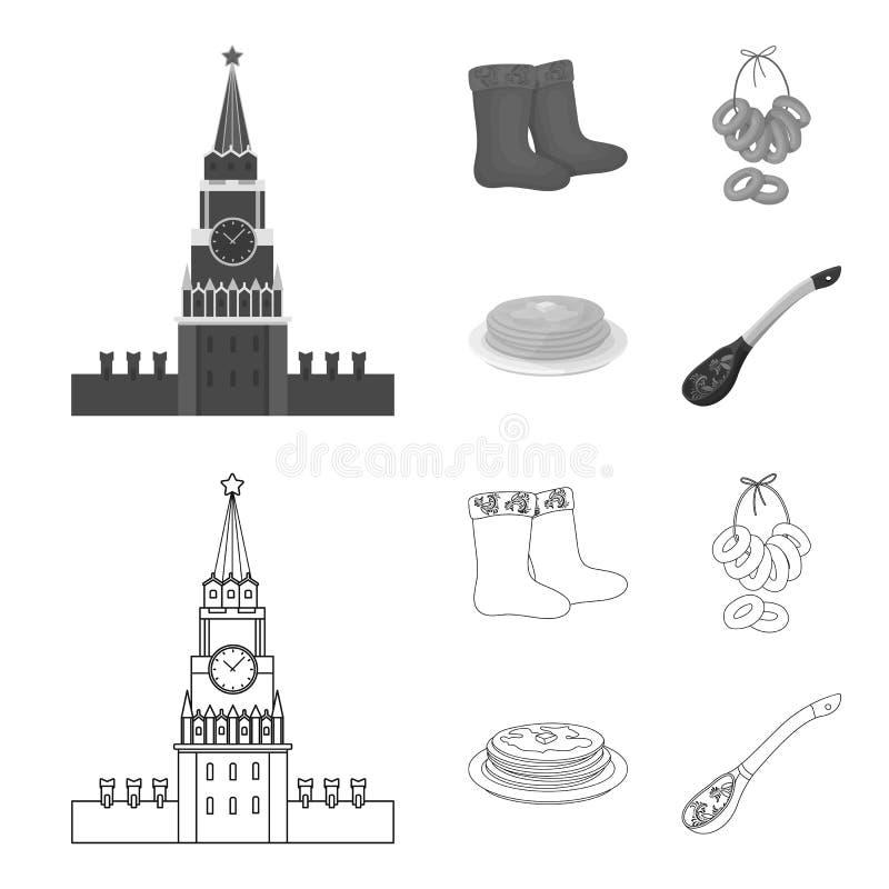 Αισθητός, μπότες, ξήρανση, μελόψωμο Καθορισμένα εικονίδια συλλογής χωρών της Ρωσίας στην περίληψη, μονοχρωματικό απόθεμα συμβόλων διανυσματική απεικόνιση