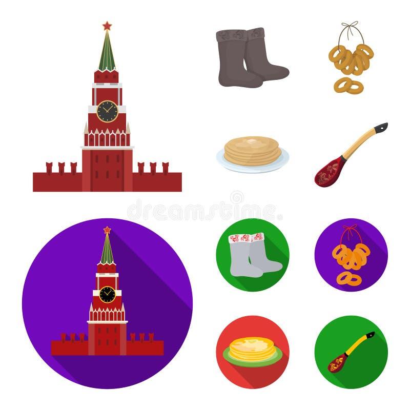Αισθητός, μπότες, ξήρανση, μελόψωμο Καθορισμένα εικονίδια συλλογής χωρών της Ρωσίας στα κινούμενα σχέδια, επίπεδο απόθεμα συμβόλω ελεύθερη απεικόνιση δικαιώματος