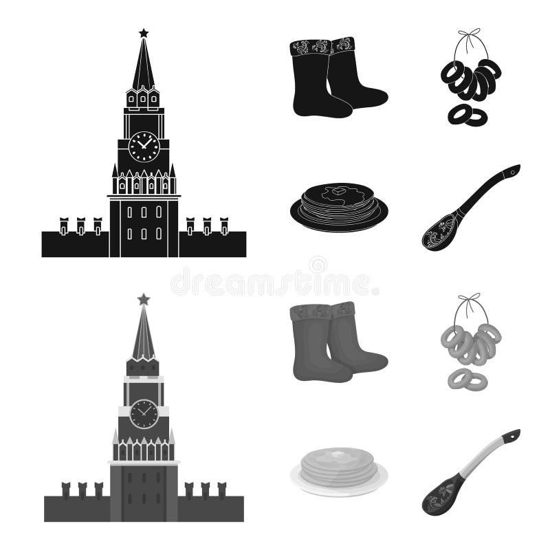 Αισθητός, μπότες, ξήρανση, μελόψωμο Καθορισμένα εικονίδια συλλογής χωρών της Ρωσίας στο μαύρο, μονοχρωματικό απόθεμα συμβόλων ύφο διανυσματική απεικόνιση