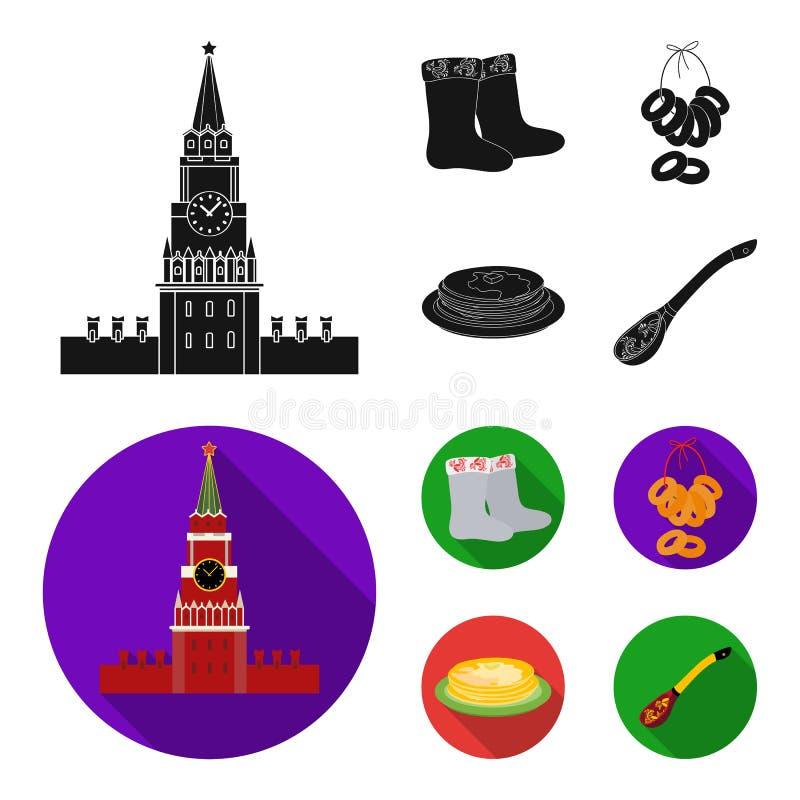 Αισθητός, μπότες, ξήρανση, μελόψωμο Καθορισμένα εικονίδια συλλογής χωρών της Ρωσίας στο μαύρο, επίπεδο απόθεμα συμβόλων ύφους δια διανυσματική απεικόνιση