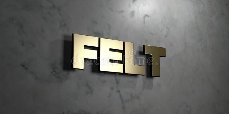 Αισθητός - το χρυσό σημάδι τοποθέτησε στο στιλπνό μαρμάρινο τοίχο - τρισδιάστατο δικαίωμα ελεύθερη απεικόνιση αποθεμάτων διανυσματική απεικόνιση