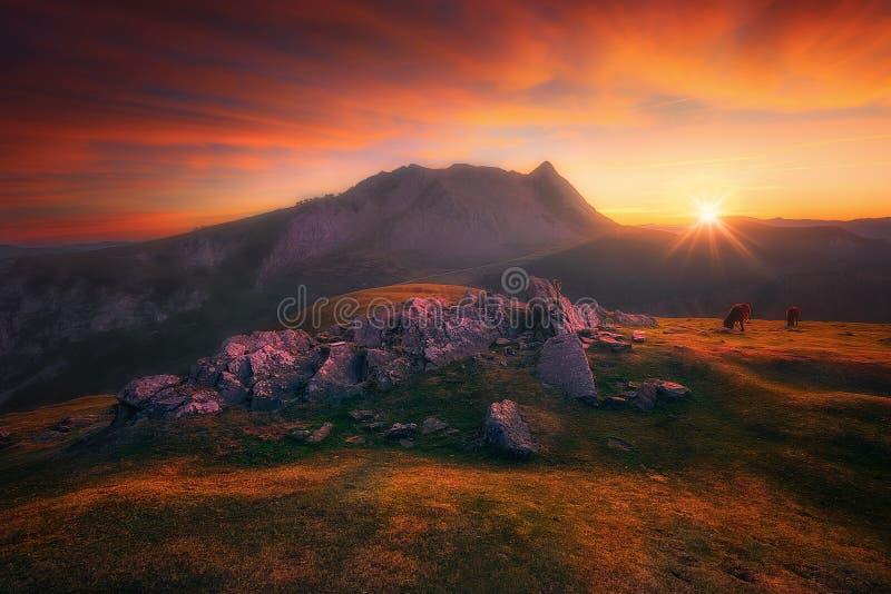 Αιχμή Anboto από το βουνό Urkiolamendi στην κόκκινη ανατολή στοκ εικόνα με δικαίωμα ελεύθερης χρήσης