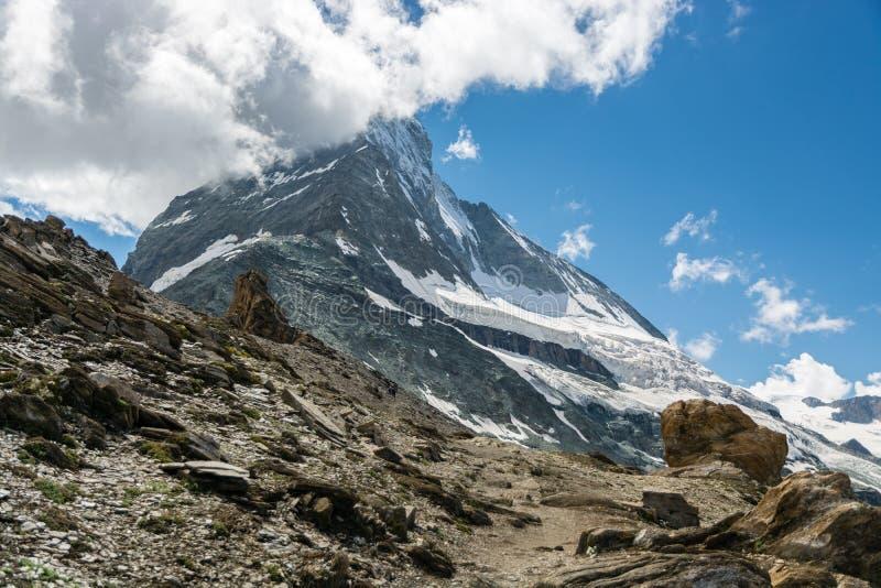 Αιχμή Matterhorn που καλύπτεται με τα σύννεφα στοκ εικόνες με δικαίωμα ελεύθερης χρήσης