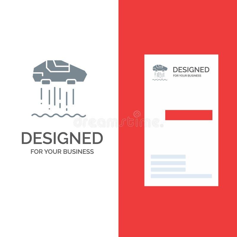Αιωρηθείτε το αυτοκίνητο, προσωπικός, το αυτοκίνητο, το γκρίζο σχέδιο λογότυπων τεχνολογίας και το πρότυπο επαγγελματικών καρτών απεικόνιση αποθεμάτων