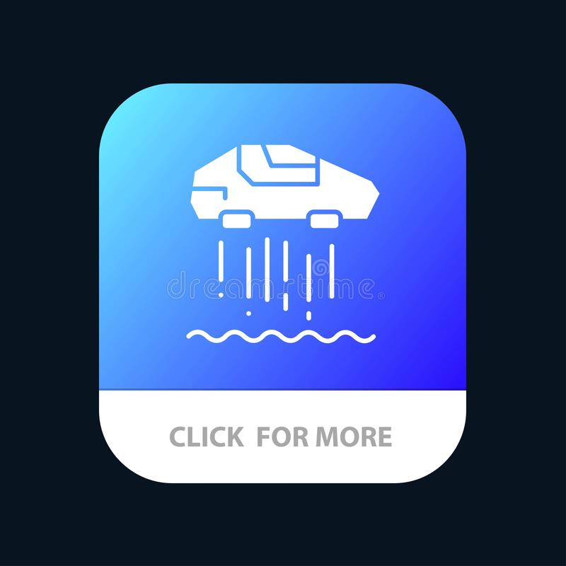 Αιωρηθείτε το αυτοκίνητο, προσωπικό, αυτοκίνητο, κινητό App τεχνολογίας κουμπί Αρρενωπή και IOS Glyph έκδοση απεικόνιση αποθεμάτων