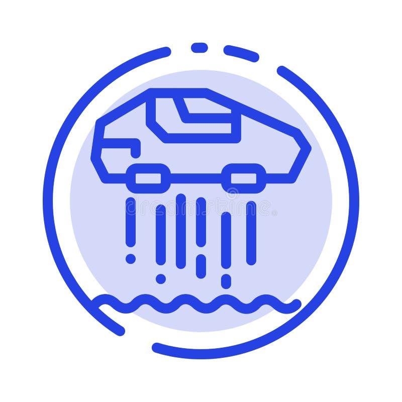 Αιωρηθείτε το αυτοκίνητο, προσωπικό, αυτοκίνητο, μπλε εικονίδιο γραμμών διαστιγμένων γραμμών τεχνολογίας απεικόνιση αποθεμάτων