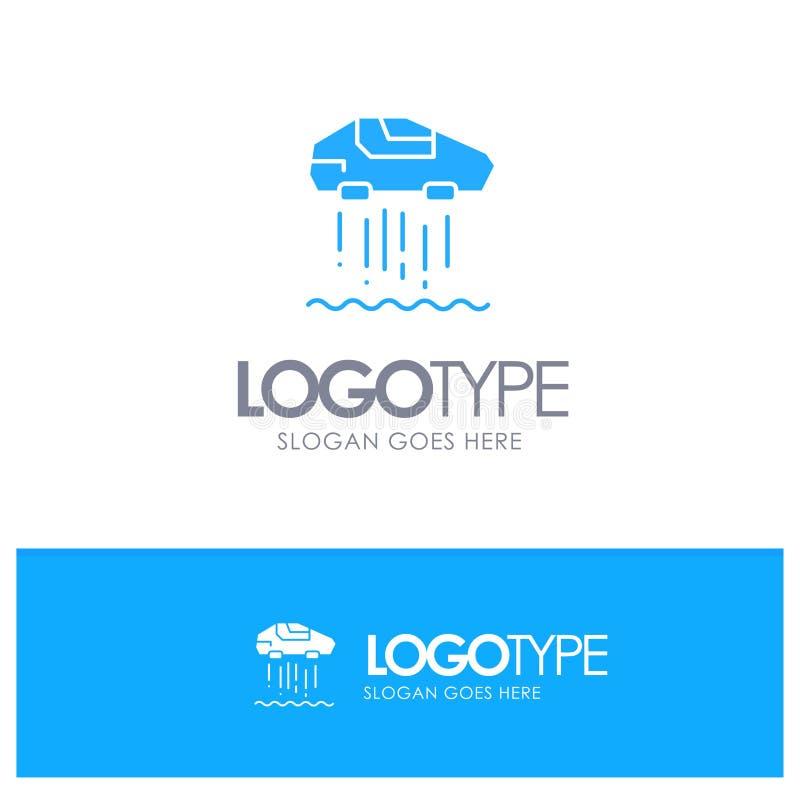 Αιωρηθείτε το αυτοκίνητο, προσωπικό, αυτοκίνητο, μπλε στερεό λογότυπο τεχνολογίας με τη θέση για το tagline διανυσματική απεικόνιση