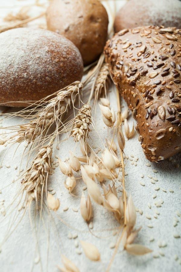 Ακίδα του σίτου, της σίκαλης και των βρωμών και του πρόσφατα ψημένου καυτού οργανικού σπιτικού ψωμιού σε ένα άσπρο υπόβαθρο στοκ εικόνες