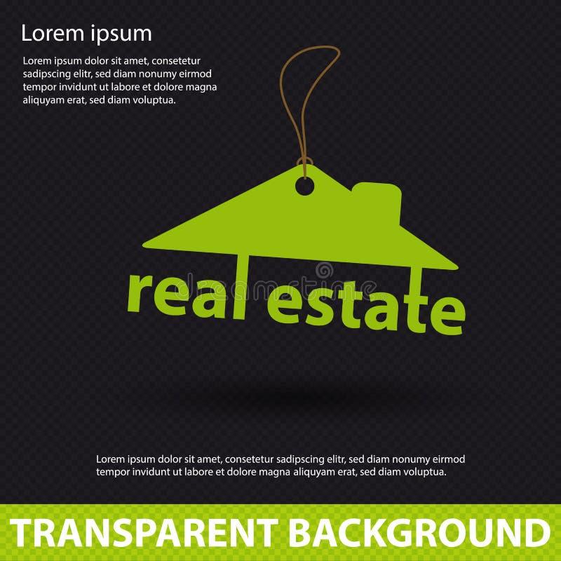 Ακίνητη περιουσία - έννοια σπιτιών αρχιτεκτονικής - κρεμώντας διανυσματικό λογότυπο με τη σκιά ελεύθερη απεικόνιση δικαιώματος