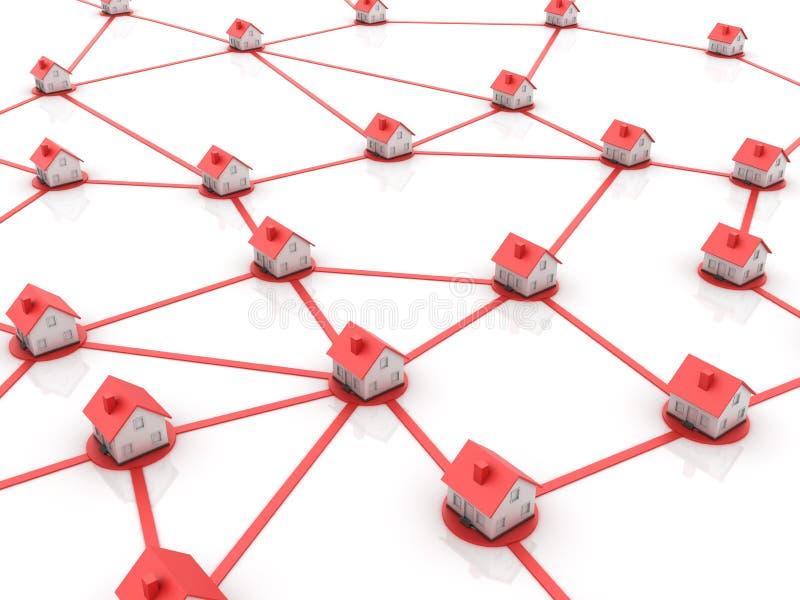 Ακίνητη περιουσία - δίκτυο σπιτιών ελεύθερη απεικόνιση δικαιώματος