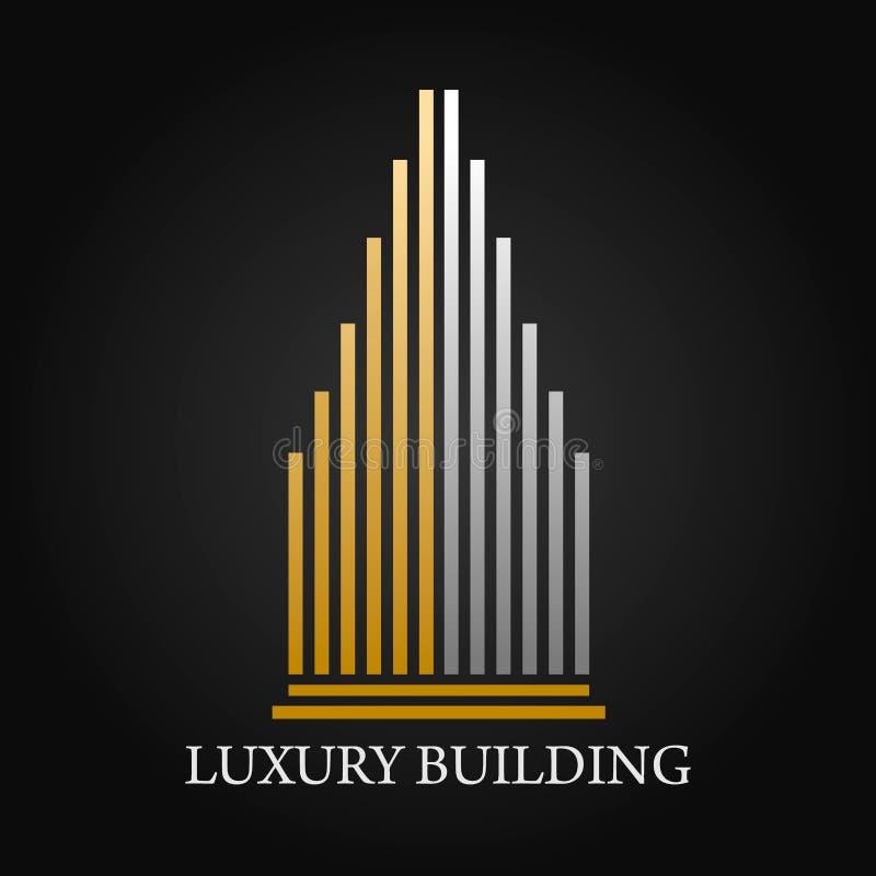 Ακίνητη περιουσία, διανυσματικό σχέδιο λογότυπων κτηρίου, οικοδόμησης και αρχιτεκτονικής διανυσματική απεικόνιση