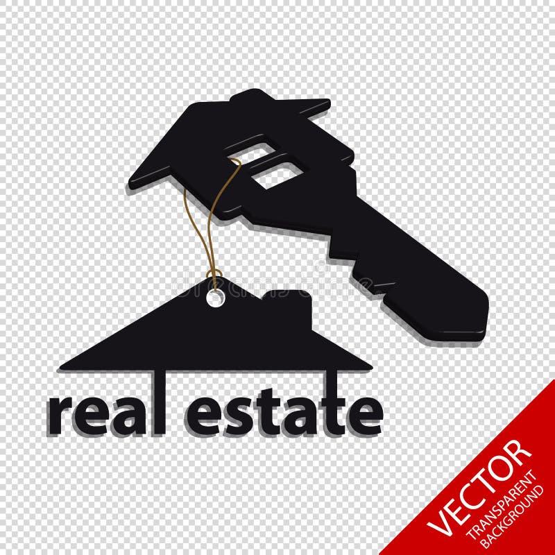 Ακίνητη περιουσία - σπίτι αρχιτεκτονικής και βασική έννοια - κρεμώντας διανυσματικό λογότυπο - που απομονώνεται στο διαφανές υπόβ απεικόνιση αποθεμάτων