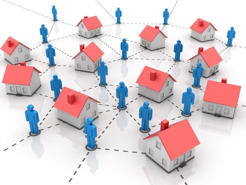 Ακίνητη περιουσία - σπίτι με τους ανθρώπους διανυσματική απεικόνιση