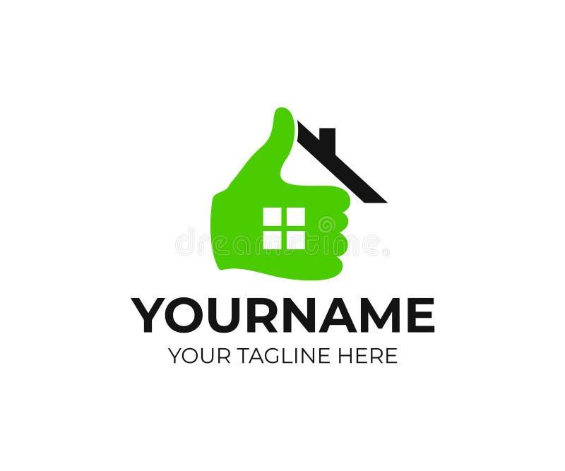Ακίνητη περιουσία, σπίτι, σπίτι, χέρι και αντίχειρας επάνω, σχέδιο λογότυπων Realtor, πραγματική ιδιοκτησία και κατασκευή, διανυσ απεικόνιση αποθεμάτων