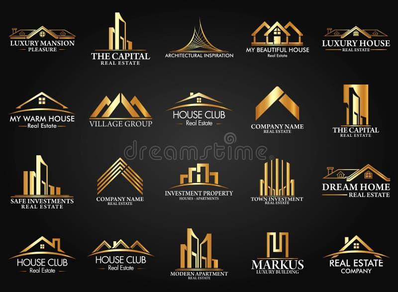 Ακίνητη περιουσία συνόλου και ομάδας, διανυσματικό σχέδιο λογότυπων κτηρίου και οικοδόμησης ελεύθερη απεικόνιση δικαιώματος