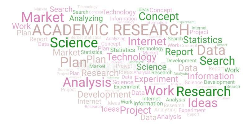 Ακαδημαϊκό σύννεφο ερευνητικής λέξης απεικόνιση αποθεμάτων