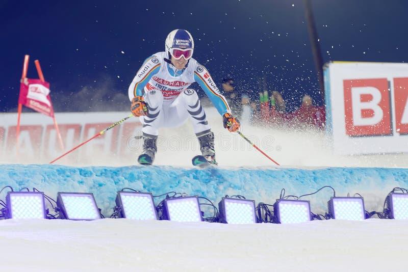 Ακαθάριστο να κάνει σκι Fritz Dopfer σε ένα γεγονός slalom στοκ φωτογραφία με δικαίωμα ελεύθερης χρήσης