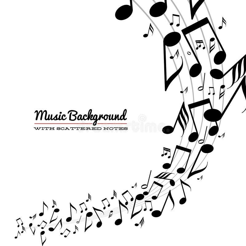 Ακατάστατες διεσπαρμένες σημειώσεις μουσικής για τη σανίδα ελεύθερη απεικόνιση δικαιώματος