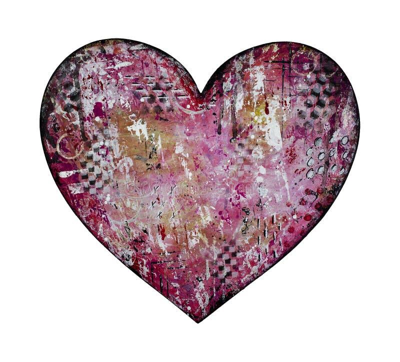 Ακατάστατη κόκκινη μικτή απεικόνιση καρδιών μέσων διανυσματική απεικόνιση