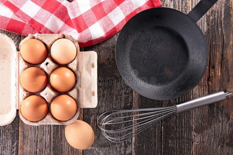 Ακατέργαστα αυγό και τηγάνι στοκ φωτογραφίες