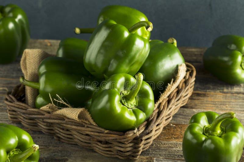 Ακατέργαστα πράσινα οργανικά πιπέρια κουδουνιών στοκ φωτογραφίες με δικαίωμα ελεύθερης χρήσης
