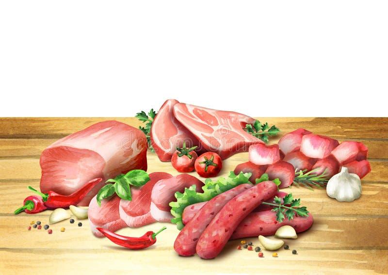 Ακατέργαστα προϊόντα βόειου κρέατος watercolor στοκ εικόνες με δικαίωμα ελεύθερης χρήσης