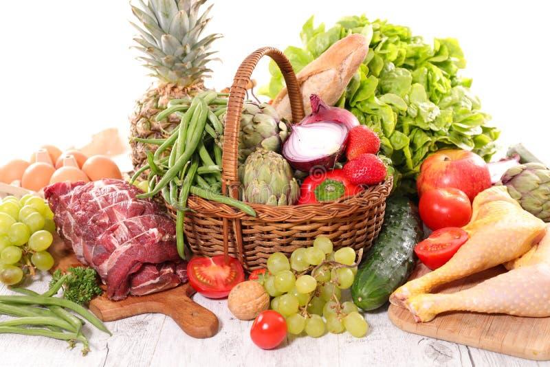 Ακατέργαστα τρόφιμα, φρούτο-λαχανικό και κρέας στοκ εικόνες