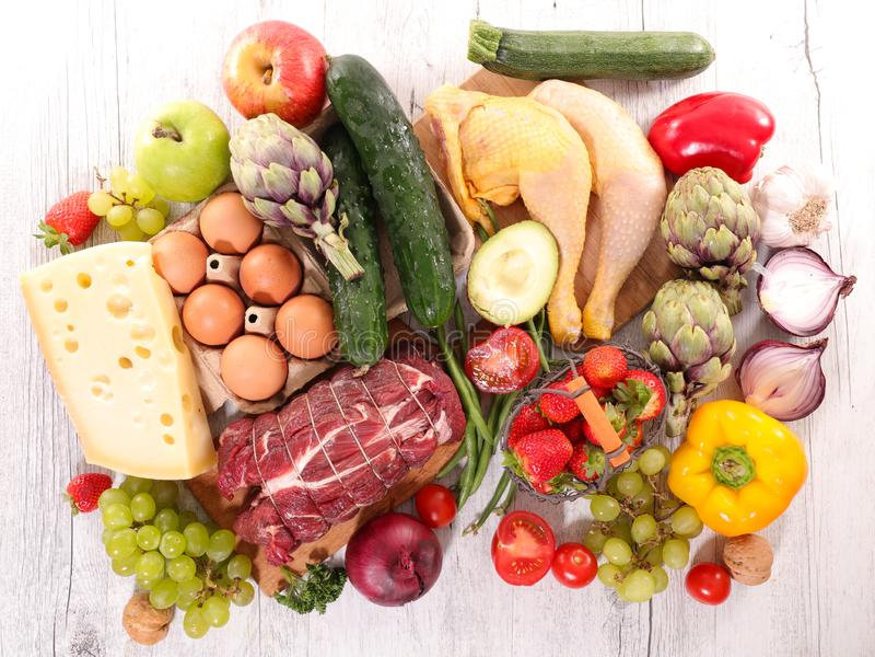 Ακατέργαστα τρόφιμα, φρούτο-λαχανικό και κρέας στοκ φωτογραφίες με δικαίωμα ελεύθερης χρήσης
