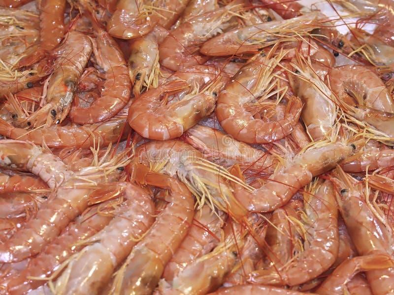 Ακατέργαστες γαρίδες στον πάγο σε μια αγορά τροφίμων στοκ εικόνες