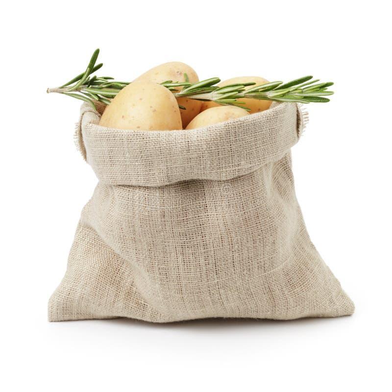 Ακατέργαστες φρέσκες πατάτες με το δεντρολίβανο burlap στην τσάντα στοκ εικόνα