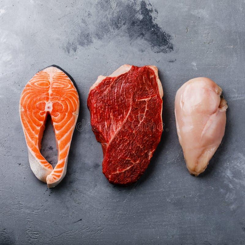 Ακατέργαστη τροφίμων μπριζόλα ψαριών σολομών ελαιούχος, κρέας βόειου κρέατος και στήθος κοτόπουλου στοκ εικόνα με δικαίωμα ελεύθερης χρήσης